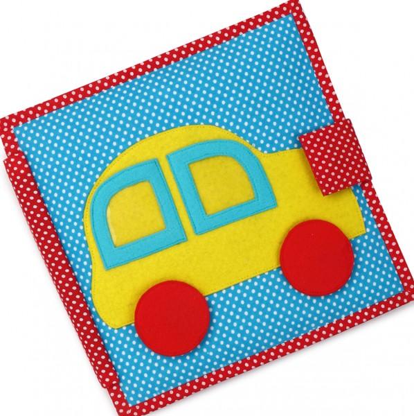 Carti educative din fetru cu activitati pentru bebelusi si copii The Fast Car - Quiet books - solutia ideala pentru deplasari cu masina sau avionul imagine