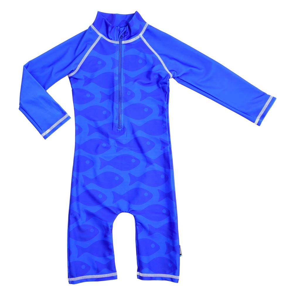 Costum de baie Fish Blue marime 62- 68 protectie UV Swimpy imagine