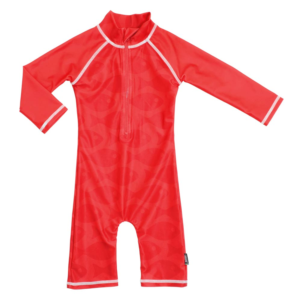 Costum de baie Fish Red marime 62- 68 protectie UV Swimpy imagine