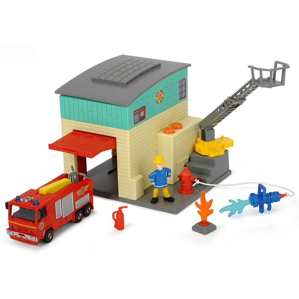 Jucarie Dickie Toys Statie de pompieri Fireman Sam cu 1 masinuta si 1 figurina