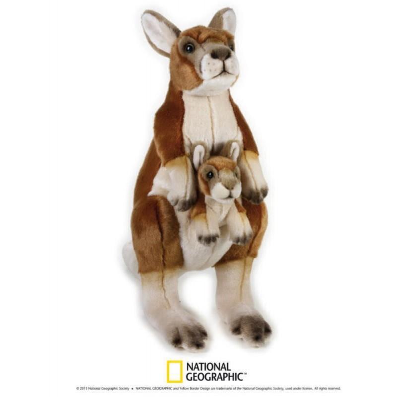 Cangur cu pui 44 cm-Jucarie din plus National Geographic imagine