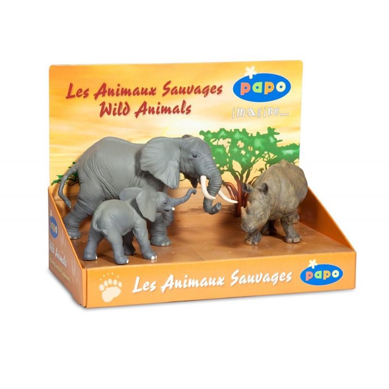 Set figurine Papo Cutie animale salbatice (elefant elefant pui rinocer)
