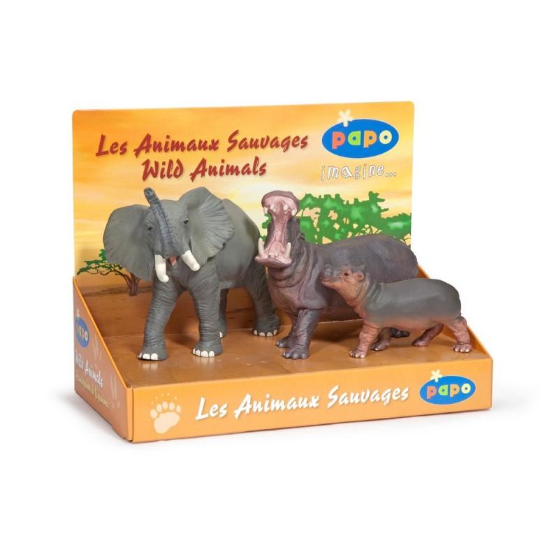 Set figurine Papo Cutie animale salbatice (elefant hipopotam hipopotam pui)