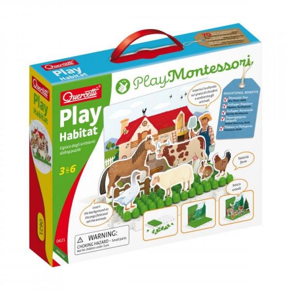 Joc educativ pentru copii Quercetti Play Montessori 0621 Play Habitat Animale domestice la ferma si animale salbatice in padure