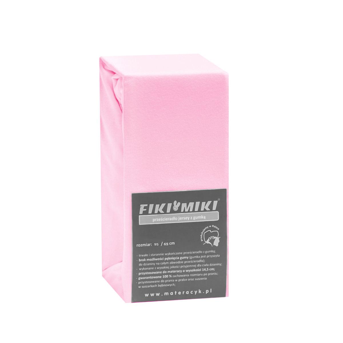 Cearsaf cu elastic jerse din bumbac roz 95/65 cm