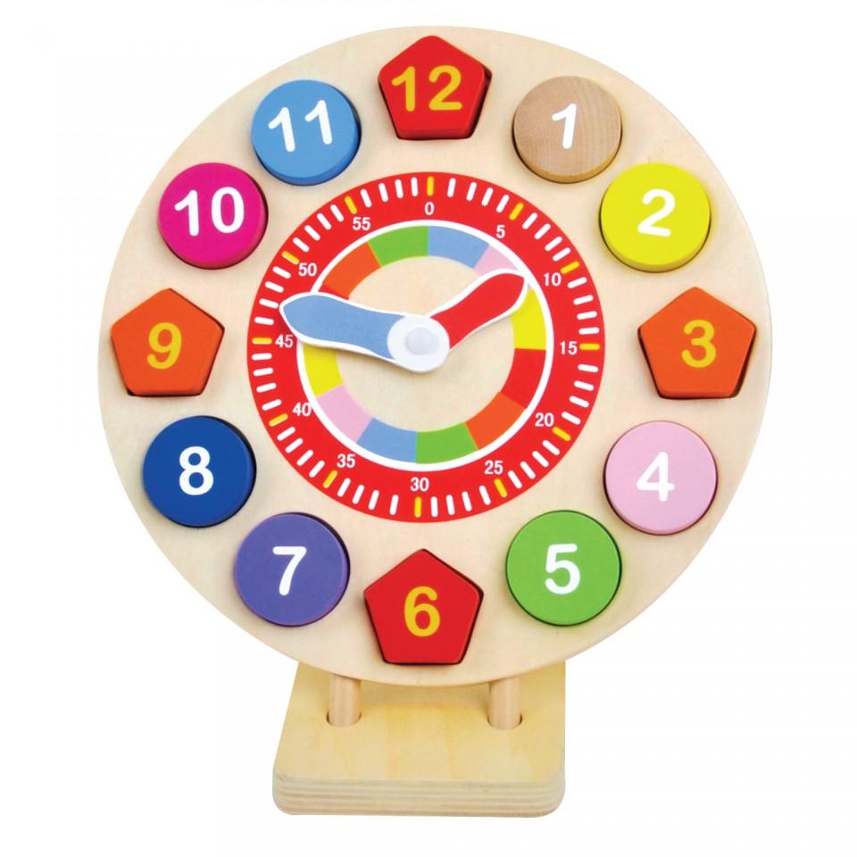 Ceas din lemn forme si numere, 14 piese imagine