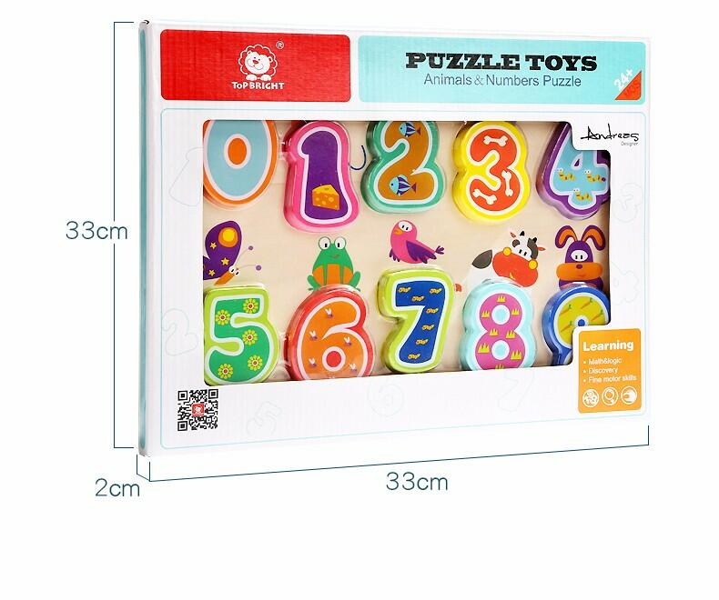 Puzzle din lemn - Numere si animalute imagine
