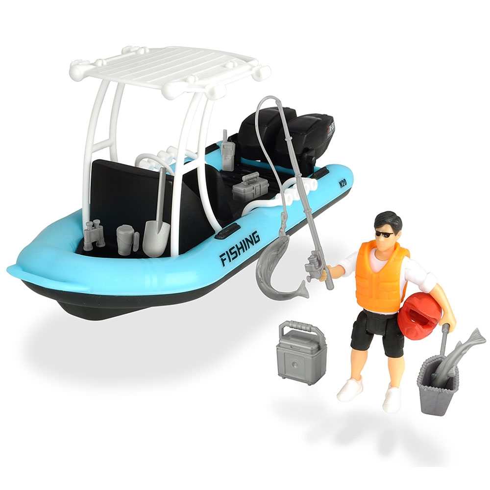 Barca de pescuit Dickie Toys Playlife cu figurina si accesorii