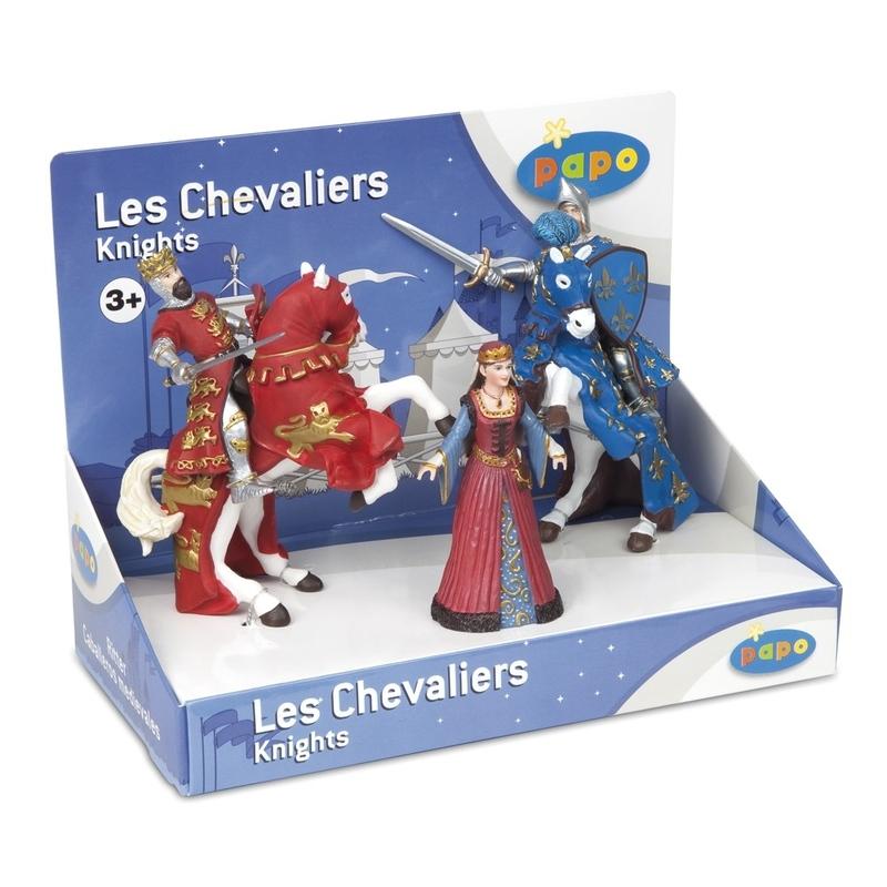Cutie cavaleri - 5 figurine (regina medievala rege Richard&cal print Filip&cal) - Set figurine Papo
