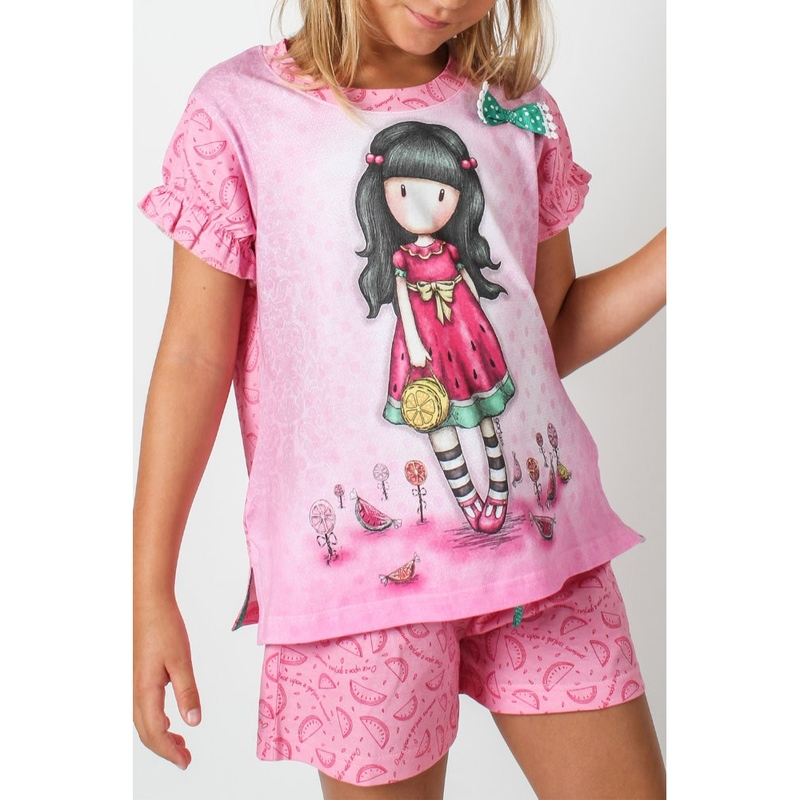 Pijama copii cu tricou Gorjuss Every Summer Has A Story, scurte imagine
