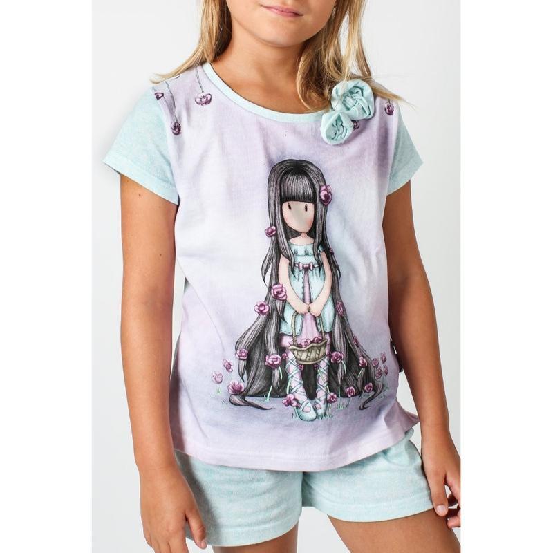 Pijama copii cu tricou Gorjuss Rosebud, scurte imagine