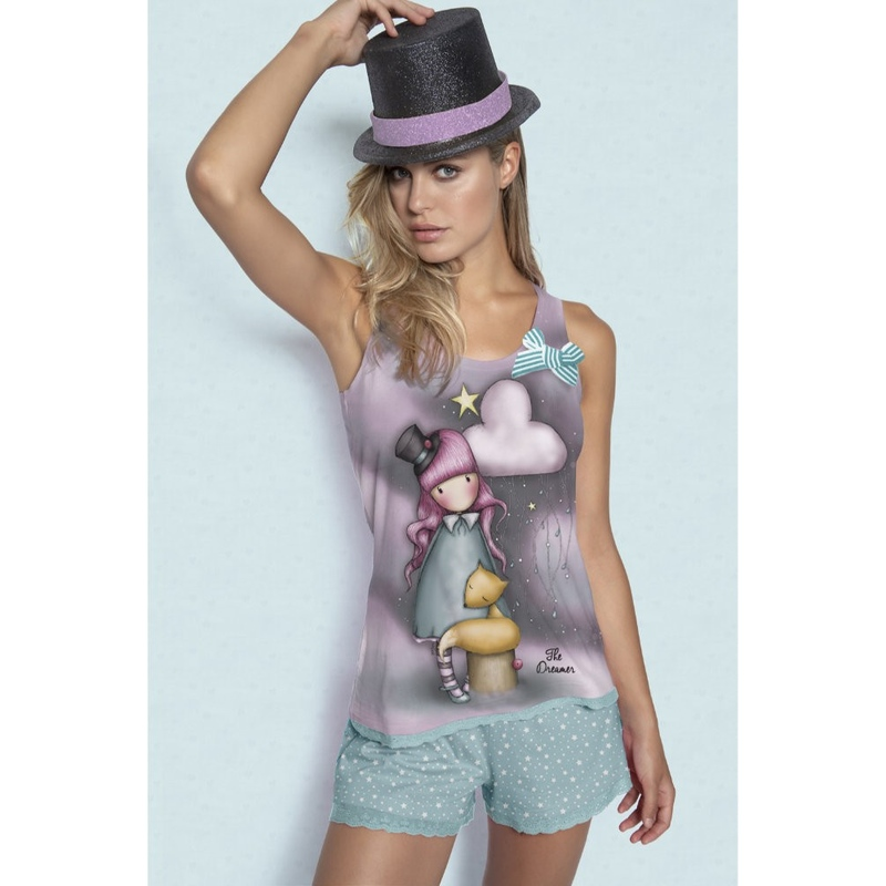 Pijama fete cu maiou Gorjuss The Dreamer, scurte imagine
