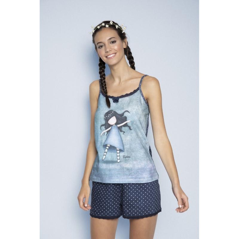 Pijama fete cu maiou Gorjuss Tiptoes, scurte imagine