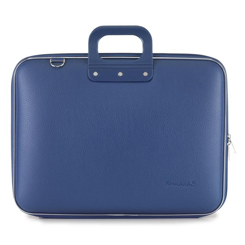 Geanta lux business laptop 17 in Maxi Bombata-Albastru cobalt imagine