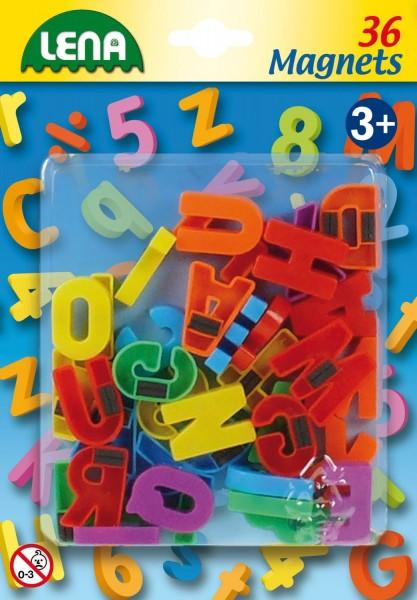 Set litere mari magnetice Lena multicolore 36 piese 3 cm lungime