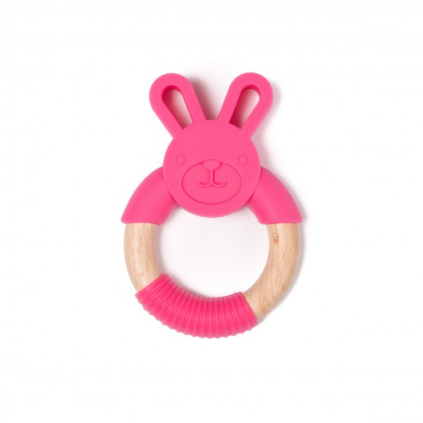 Jucarie dentitie Bo Jungle pentru bebelusi Iepure Roz imagine