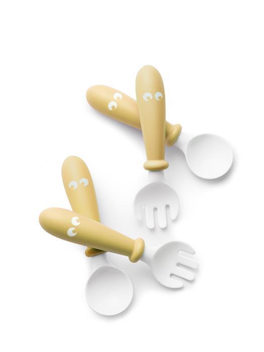 BabyBjorn - Set Lingurite si Furculite pentru bebelusi (4 bucati) Powder Yellow