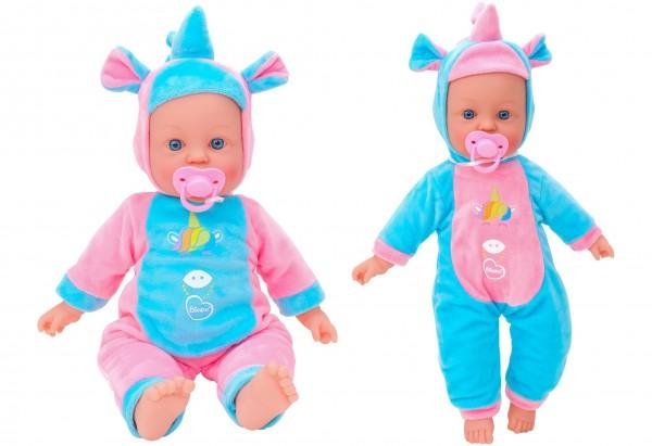 Papusa fetita cu sunete 42 cm Globo Bimbo 39483 cu costum unicorn Roz Bleu si suzeta