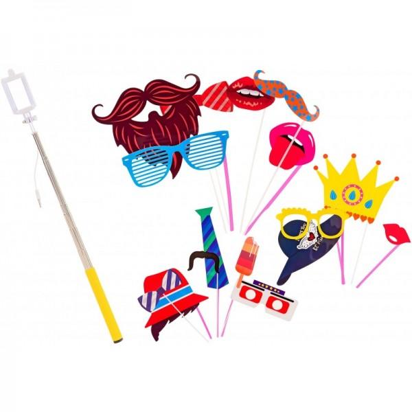 Set accesorii petrecere haioase Globo 38257 masti foto si selfie stick