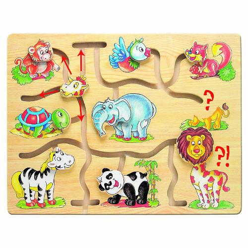 Labirint din lemn Animalele din Jungla