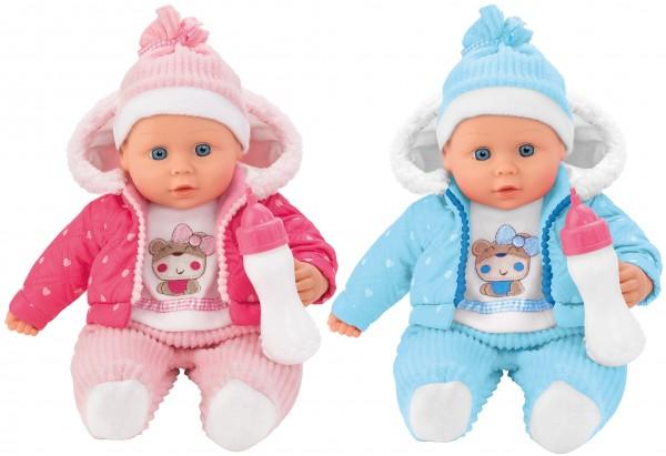 Papusa fetita cu biberon 41 cm Globo Bimbo 39475 geaca gluga roz sau bleu si bavetica