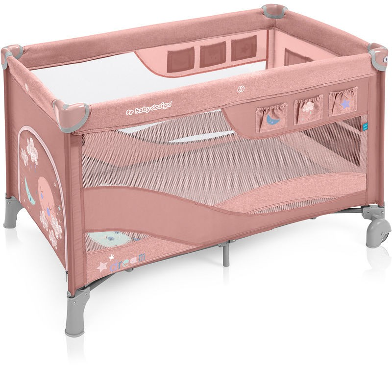Baby Design Dream Regular 08 Pink 2019 - Patut Pliabil cu 2 nivele imagine