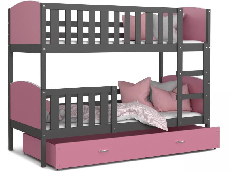 Patut tineret MyKids 2 in 1 Tami Color Grey/Pink-190x80 imagine