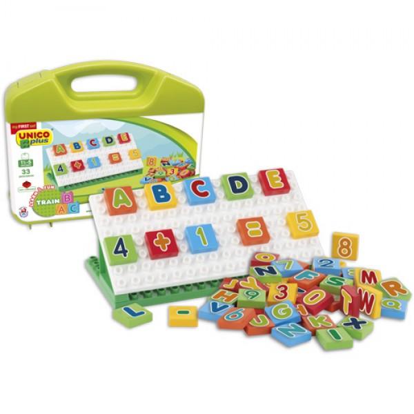 Valiza cuburi matematice pentru copii Unico 54 piese