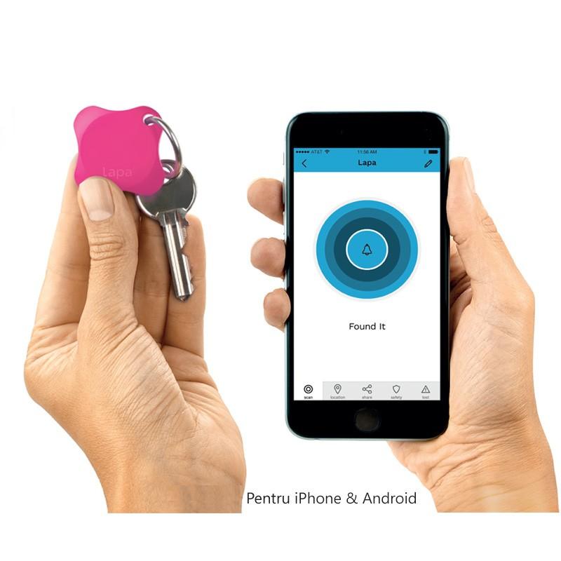 Localizator Bluetooth Lapa, dispozitiv anti-pierdere si localizare rapida+Cadou Set 2 semnalizatoare luminoase Proviz imagine