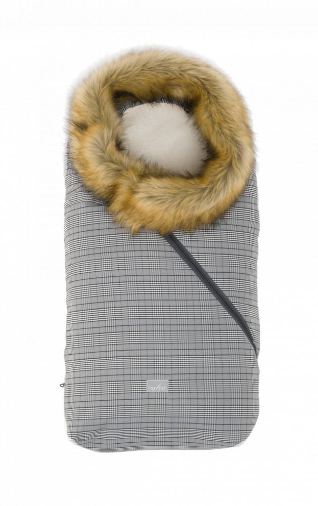 Nuvita Ovetto Pop sac de iarna cu blanita 80cm - Prince of Wales / Beige - 9236 imagine