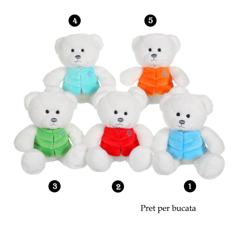 Ursulet alb - jucarie din plus cu vesta 16 cm