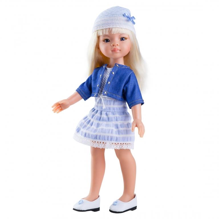 Papusa Manica in rochie bleu si bolero din denim - Paola Reina