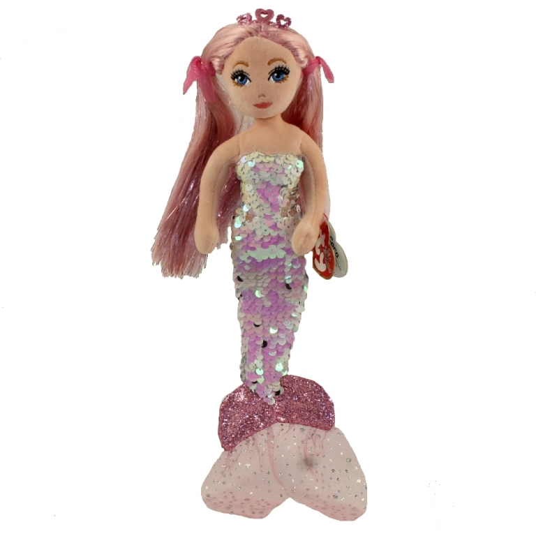 Sirena cu paiete roz, CORA (27 cm) - Ty