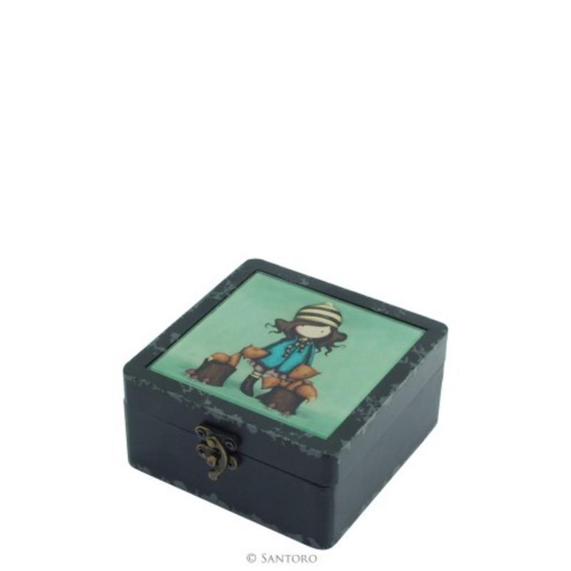 Gorjuss cutie mica din lemn si sticla - The Foxes imagine