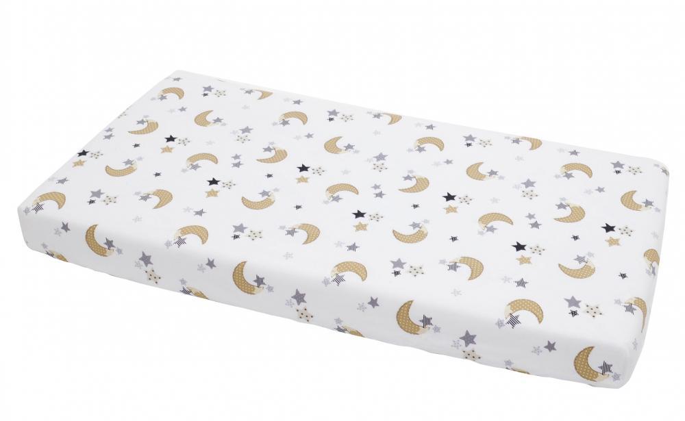 Cearceaf din bumbac cu elastic Cream Moon White 120x60 cm imagine