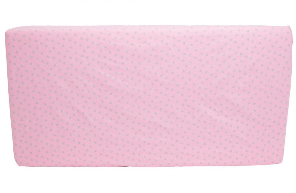 Cearceaf din bumbac cu elastic Grey Stars Pink 120x60 cm imagine