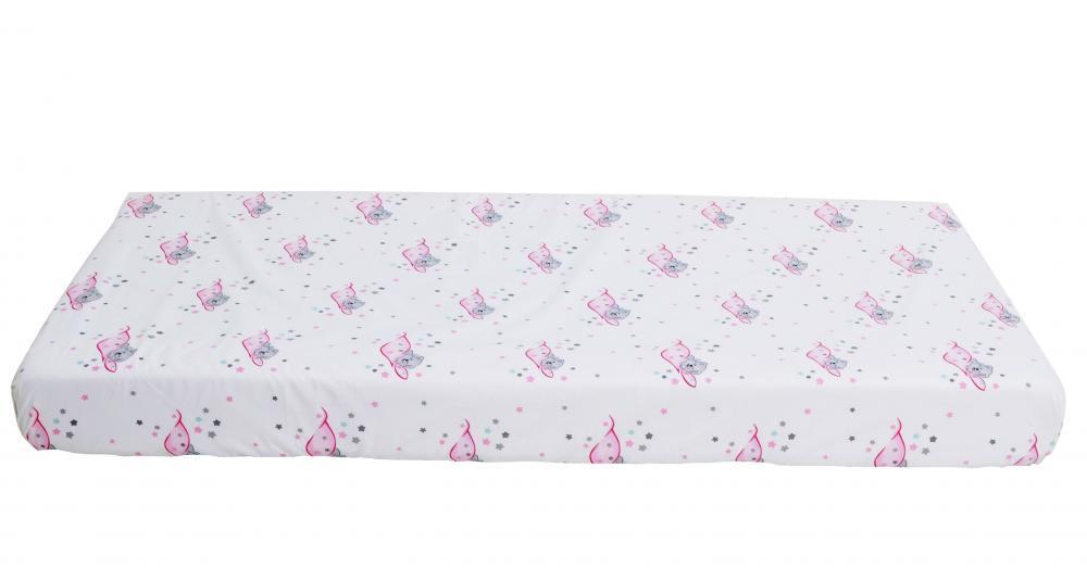 Cearceaf din bumbac cu elastic Sleeping Bear Pink 120x60 cm imagine