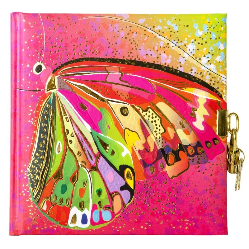 Jurnal lacatel Goldbuch Flower pink Butterfly 17x17 cm imagine