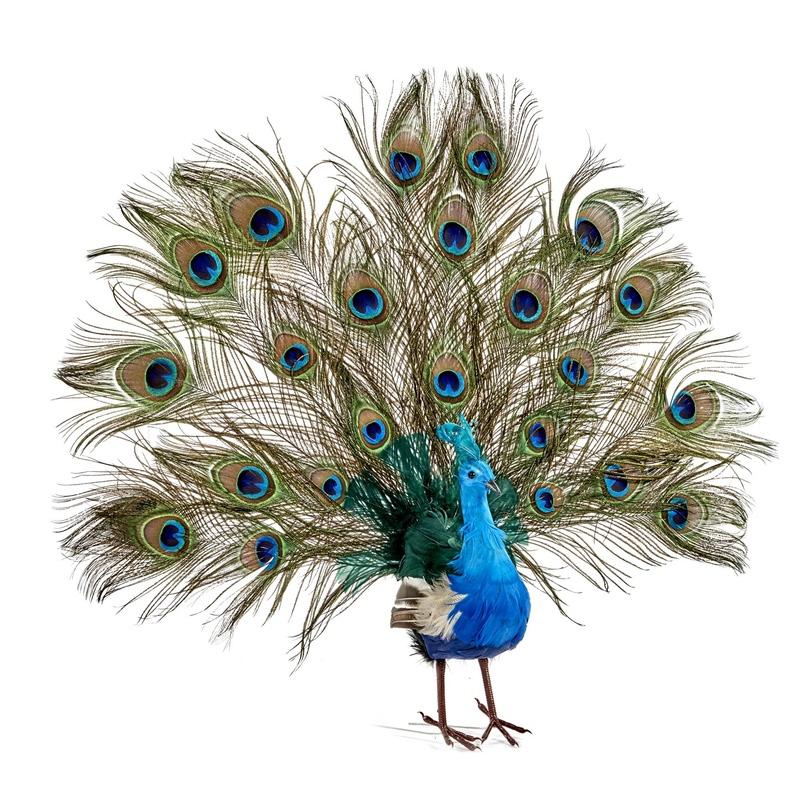 Paun decorativ 56 cm imagine
