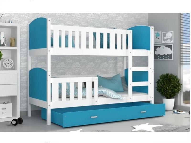 Patut tineret MyKids 2 in 1 Tami Color White/Blue-190x80 imagine
