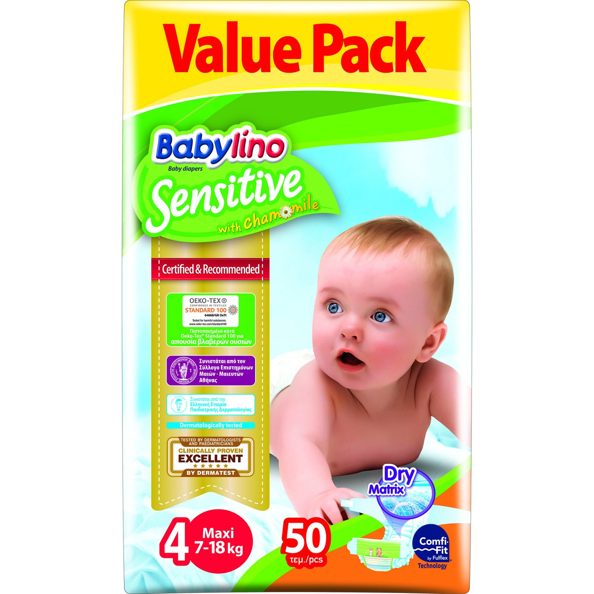 Scutece babylino sensitive economy n4 7-18kg/50 buc imagine