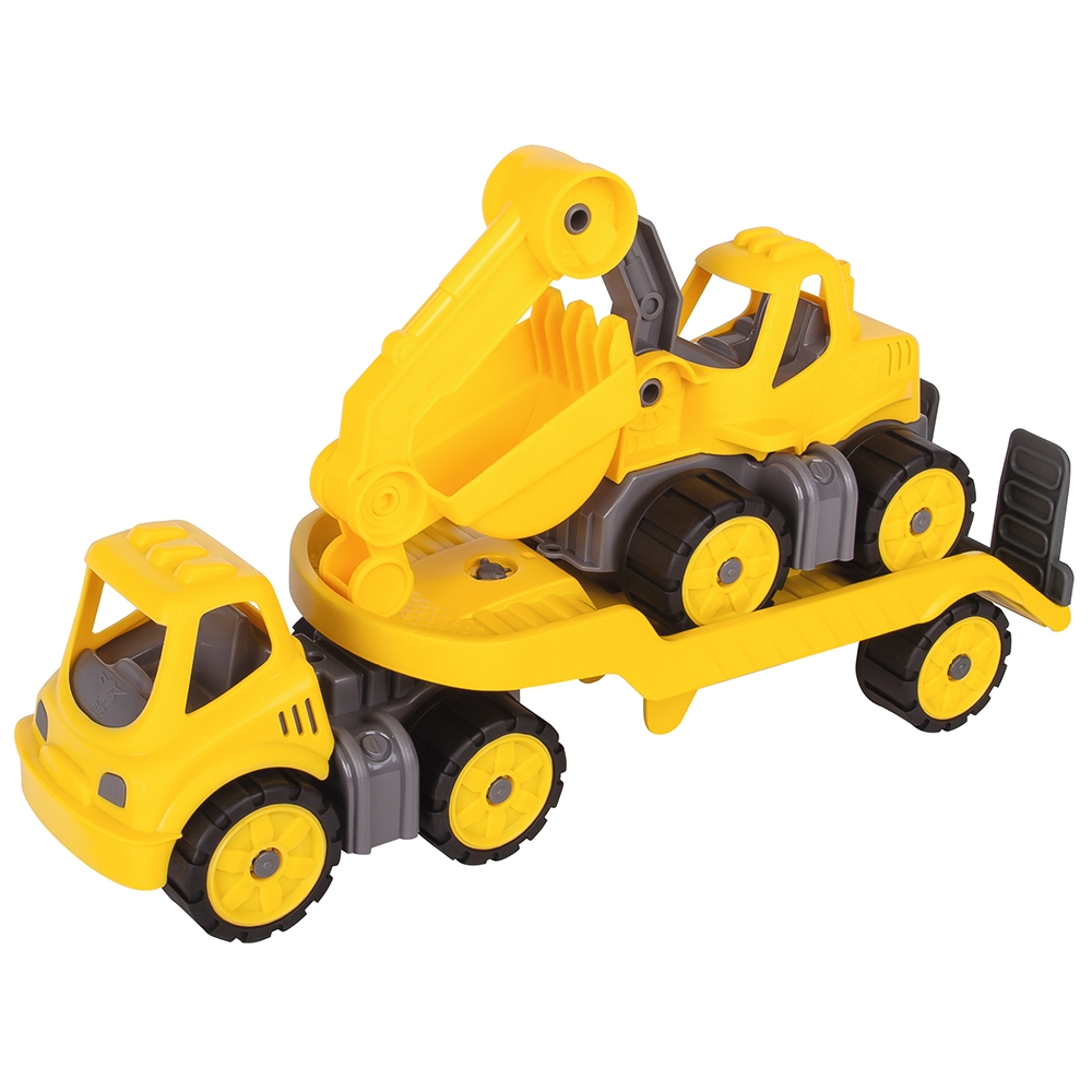 Set Big Camion cu remorca si excavator Power Worker Mini Transporter with Digger