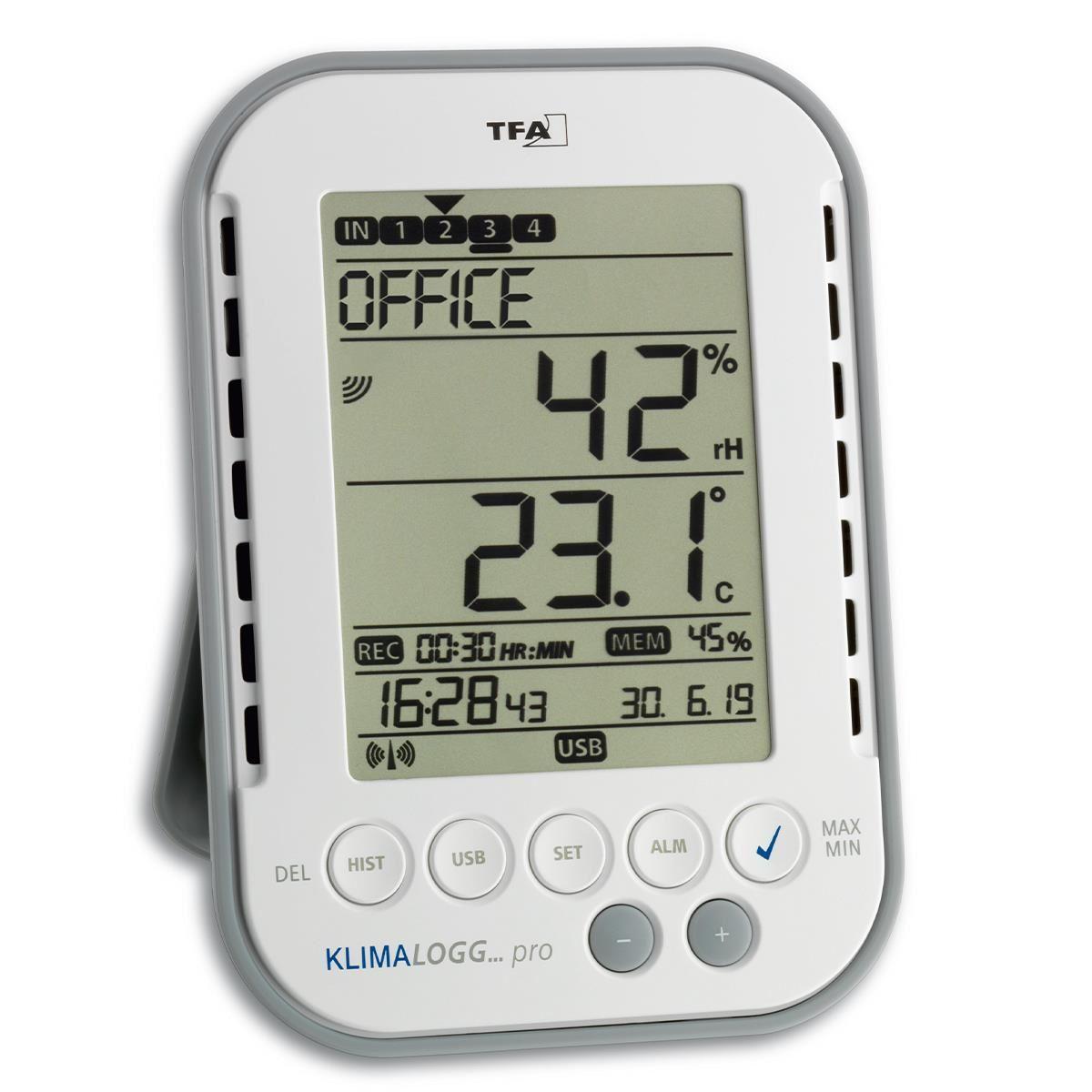Termo-higrometru profesional cu functie de inregistrare a datelor tip Data Logger, KLIMALOGG PRO TFA 30.3039.IT imagine