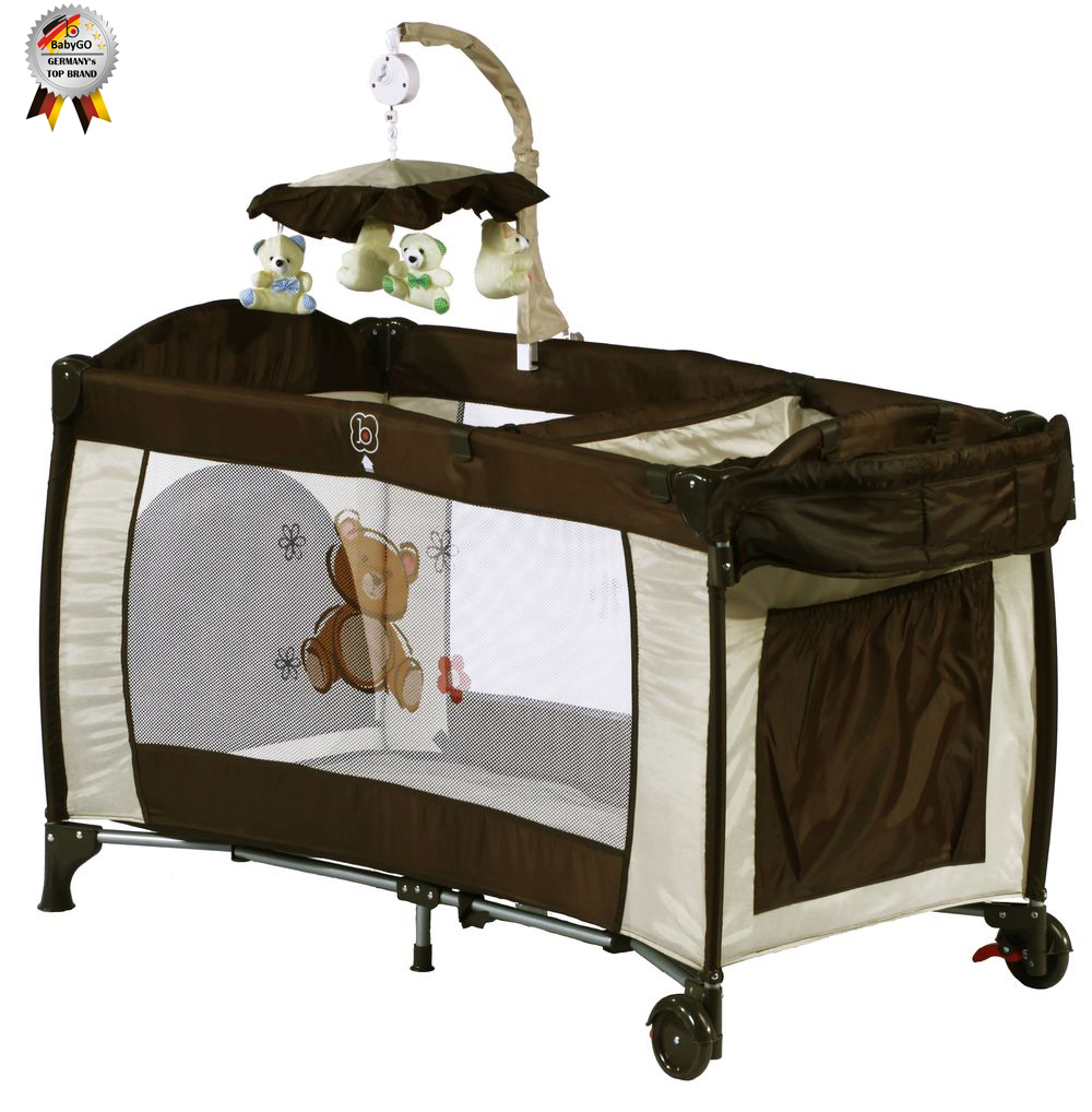 BabyGo – Patut pliant cu 2 nivele si mini-carusel Sleeper Deluxe maro