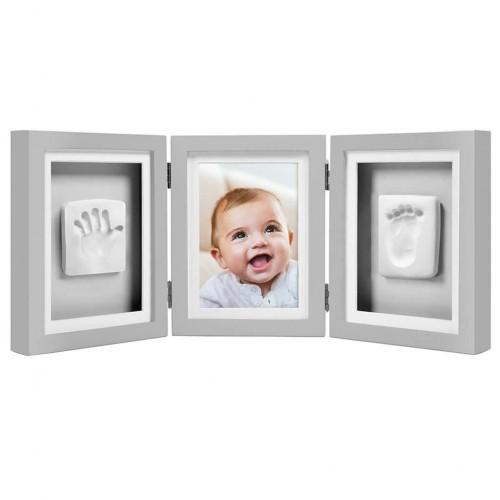Pearhead - kit rama foto tripla gri cu amprente manuta si piciorus imagine