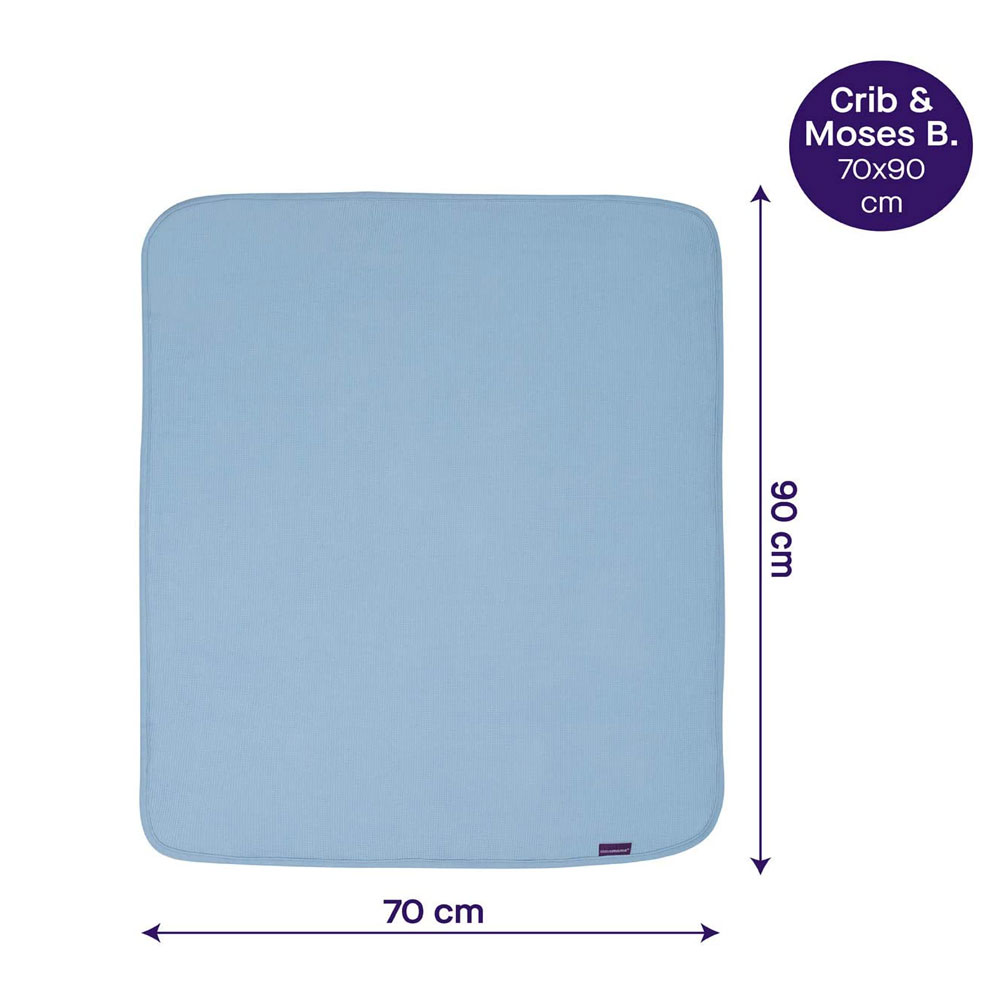 Paturica din bumbac Waffle Weave 70 x 90 cm- Blue Clevamama 3461