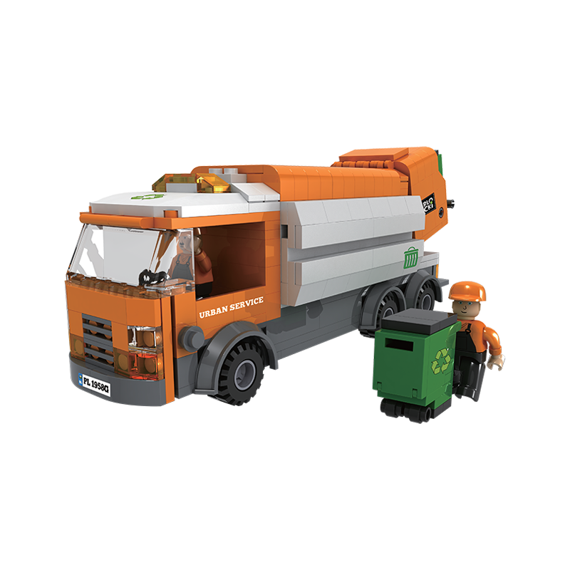 Set cuburi constructie MyCity Camionul de gunoi, 410 piese, Blocki
