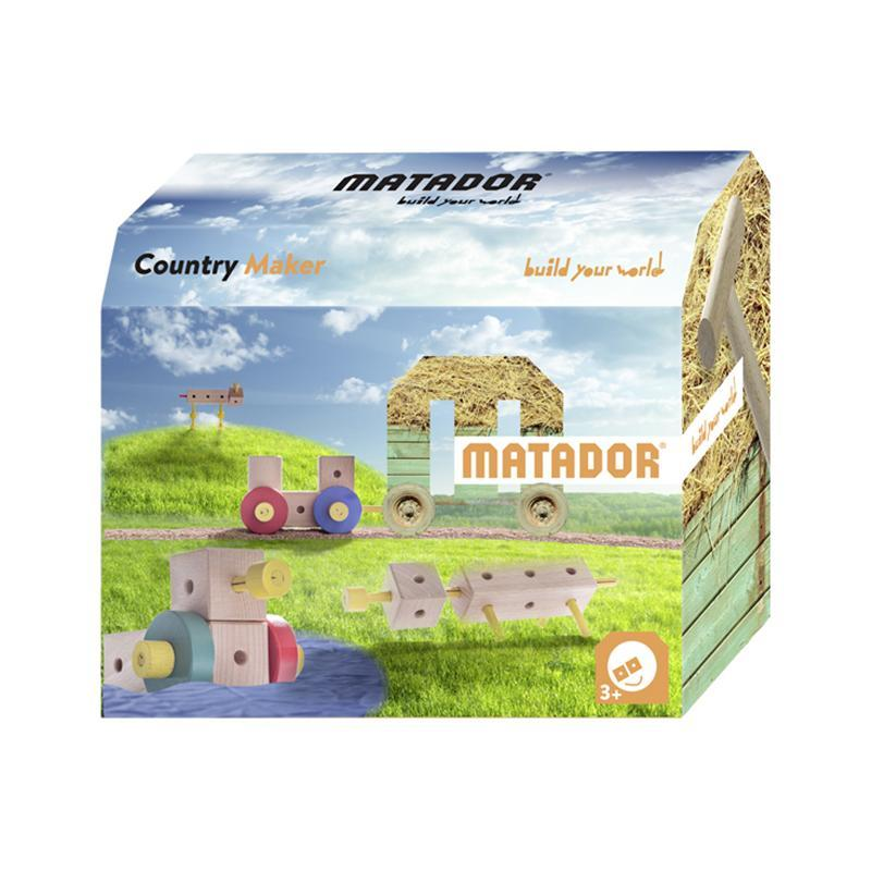 Set cuburi de constructie din lemn Maker World Country, +3 ani, Matador
