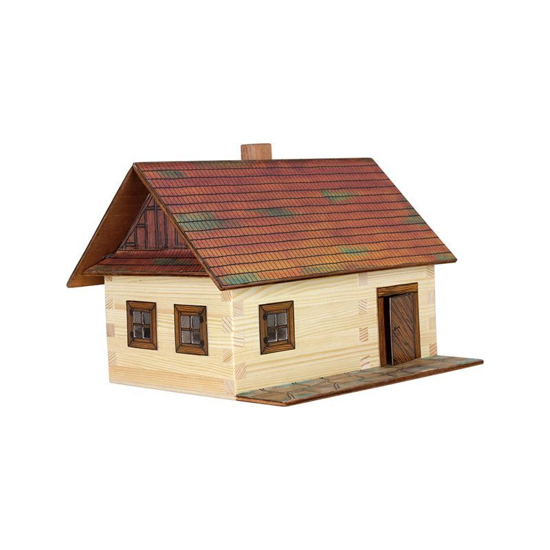 Set constructie arhitectura Casa din busteni, 100 piese din lemn, Walachia