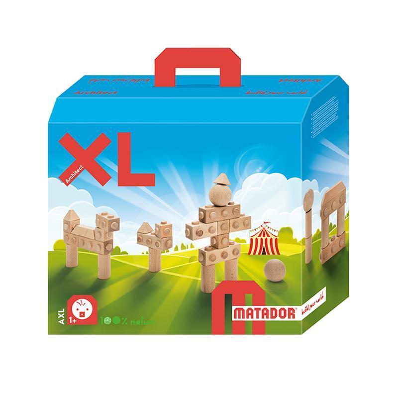 Set cuburi de constructie din lemn Architect XL, +1 an, Matador